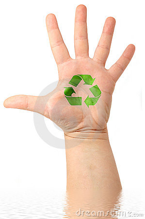 Male hand with drawing  Recycle Symbol