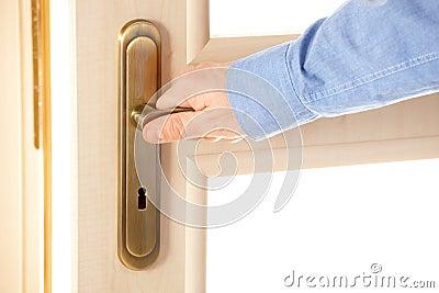 Male hand on handle