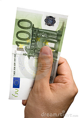 Male Hand Holding 100 Euros