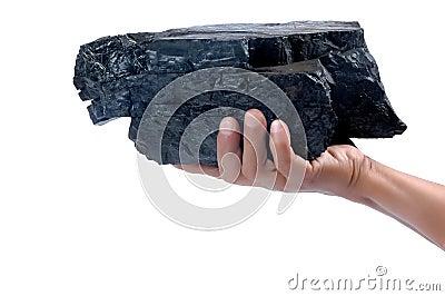 Male hand holding a big lump of coal