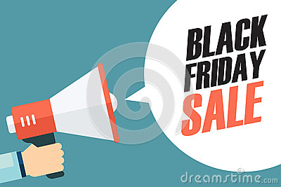 Male hand holding megaphone with Black Friday Sale speech bubble. Banner for business, promotion and advertising. Vector Illustration