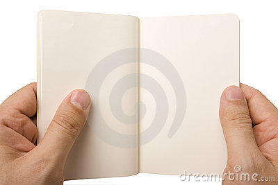 Male Hand Holding Open Note Pad