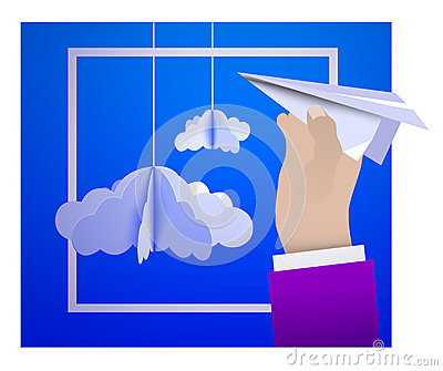Male hand holding a paper plane against the sky with paper clouds in the style of origami Vector Illustration