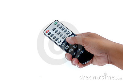Male hand holding a remote controller