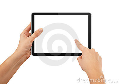 A Male Hand Holding A Touchpad Pc Stock Photo - Image: 16356630