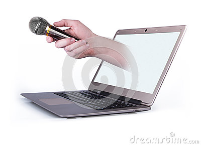 Male hand with notebook and with microphone