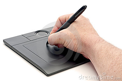 A male hand operating a pen computer input device