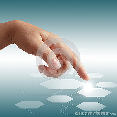 Male hand pushing on touch screen interface
