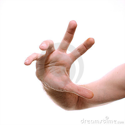 Male hand reaching towards viewer