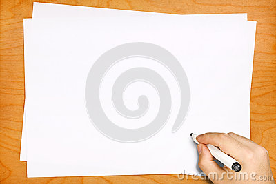 Male Hand Writing on Blank White Sheets
