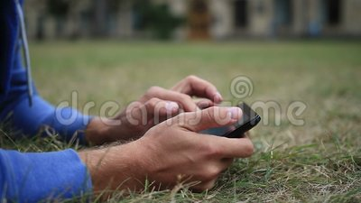 Male hands with digital tablet touching the screen stock video footage