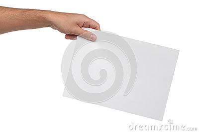 Male hands holding blank paper isolated