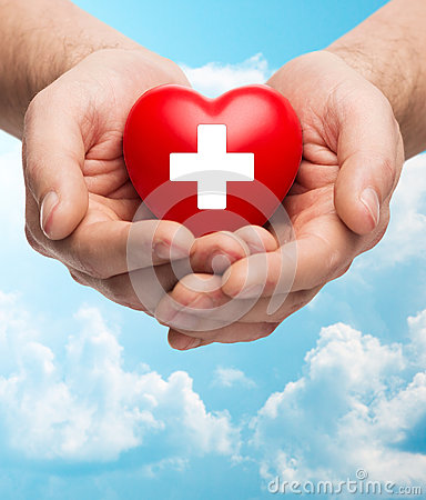 Free Male Hands Holding Red Heart With White Cross Royalty Free Stock Photography - 54035417