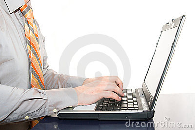 Male hands and laptop
