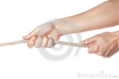 Male hands pulling the rope.