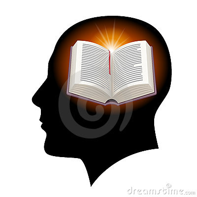 Male head with open book