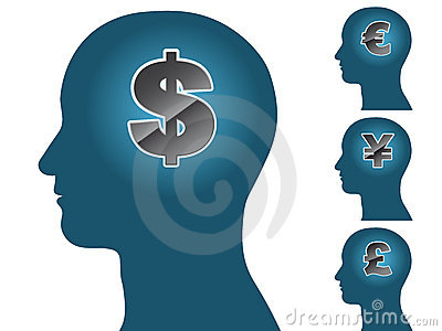 Male head silhouette thinking of money dollar euro