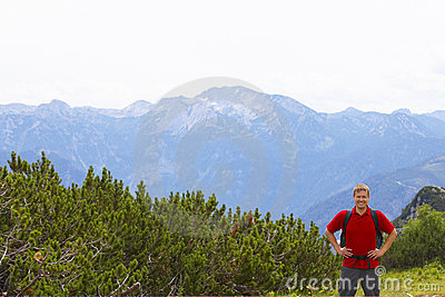 Male hiker on mountain top