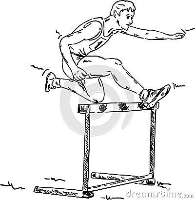 Male in a hurdle race