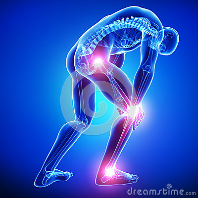 Male joints pain  in blue