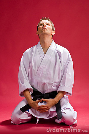Male karate expert kneeling