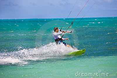 Male Kitesurfer cruising
