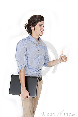 Male with laptop