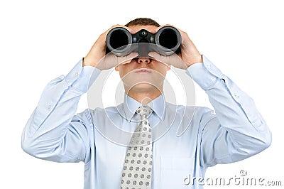 Male looking with binoculars