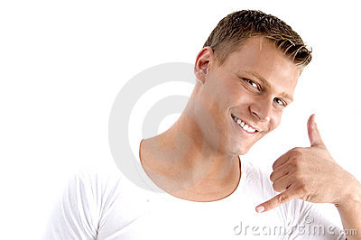 male making a phone call hand gesture stock image   image 6970031