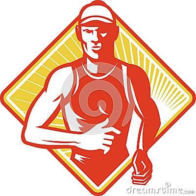 Male Marathon Runner Running Retro
