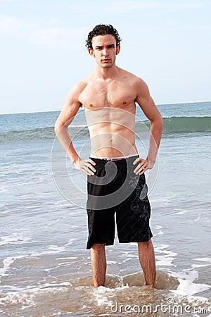 Male model on beach