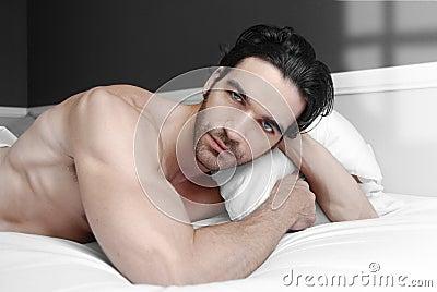 Male model in bed