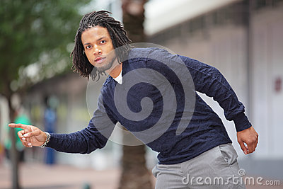 Male model hailing a cab