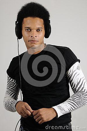 Male model with headphones