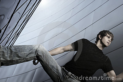 Male model in horizontal pose