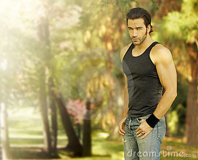 Male model in park setting