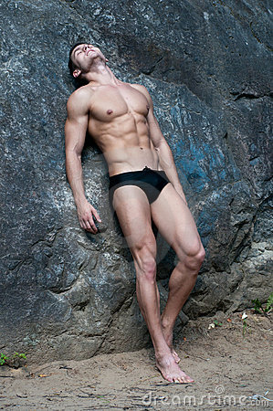 Male model on the rock