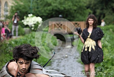 Male model spreading water drops Editorial Photo