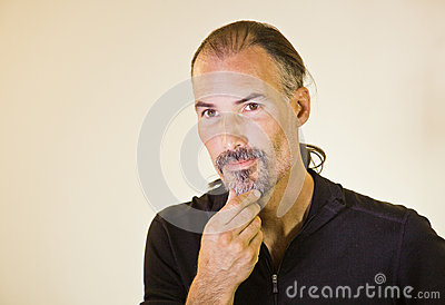Male Model Stroking Beard