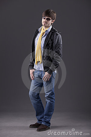 Male model in trendy clothes