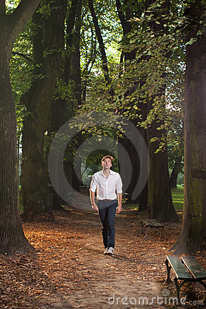 Male model walking through park alley