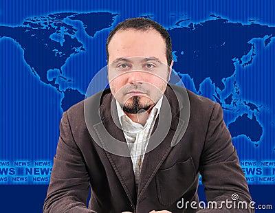 Male news presenter in studio