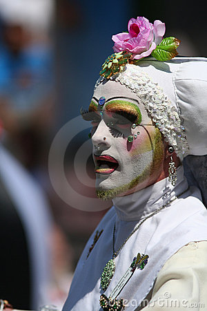 Male Nun White Habit Gay Parade SF Editorial Stock Image