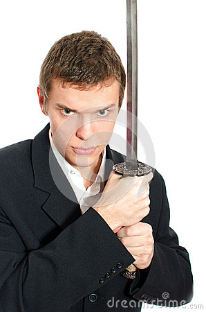 Male office worker with sword.