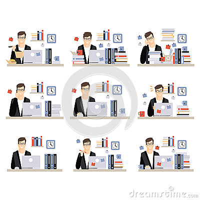 Male Office Worker Daily Work Scenes With Different Emotions, Set Of Illustrations Of Busy Day At The Office Vector Illustration