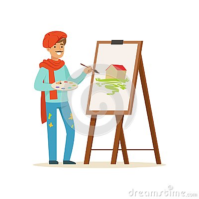 Free Male Painter Artist Character With Mustache Wearing Red Beret Painting Picture Of Landscape Standing Near Easel Vector Royalty Free Stock Photo - 100190105