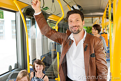 Male passenger in a bus