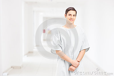 Male patient posing in a hospital corridor