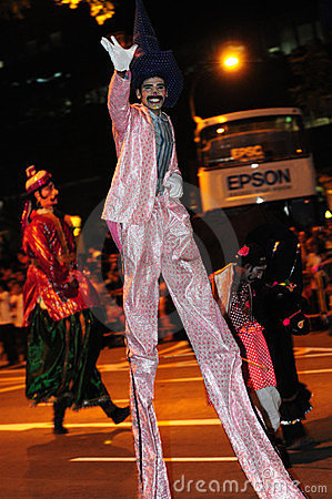 Male performer on stilts Editorial Image