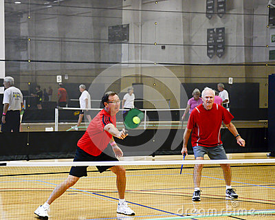 Male Pickleball Players in Action Editorial Image